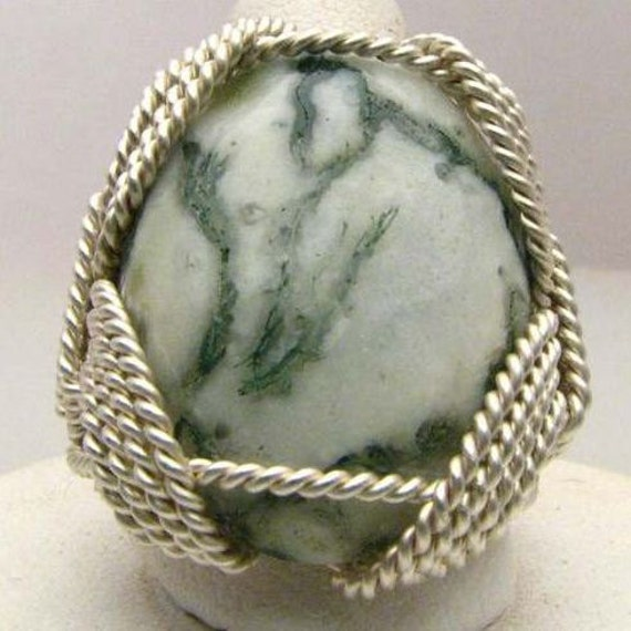 Oval Wire Wrap Tree Agate Ring Green White Gemstone Solid Sterling Silver.  Custom Sized to fit you.