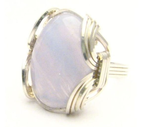 Wire Wrapped Blue Lace Agate Gemstone Sterling Silver Ring.  Custom Sized to fit you.