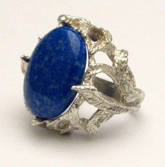 Handmade Claw Unique Designed Blue Lapis Cab Solid Sterling Silver Cocktail Ring.  Custom Sized to fit you.