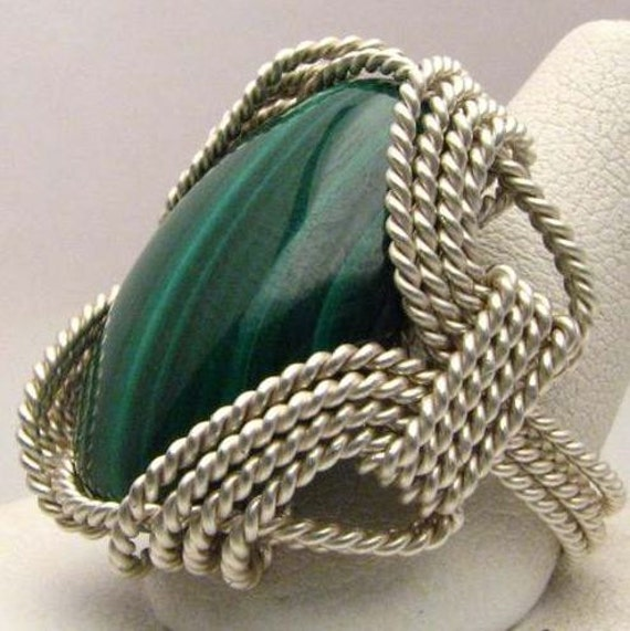 Handmade Wire Wrapped Dark Deep Green Malachite Sterling Silver Ring. Custom Personalized Sizing to fit you.