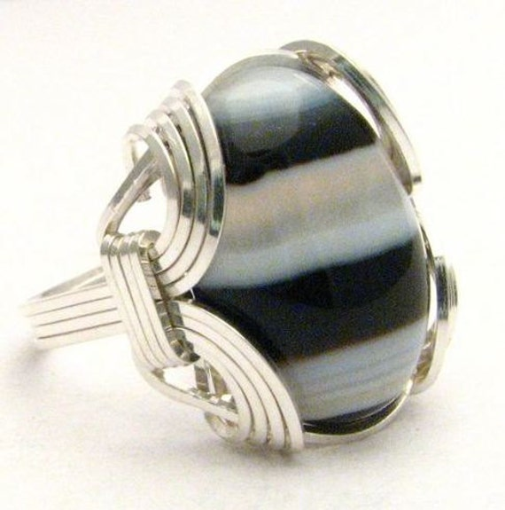 Oval Wire Wrap Black and White Onyx Sterling Silver Ring.  Custom Sized to fit you.