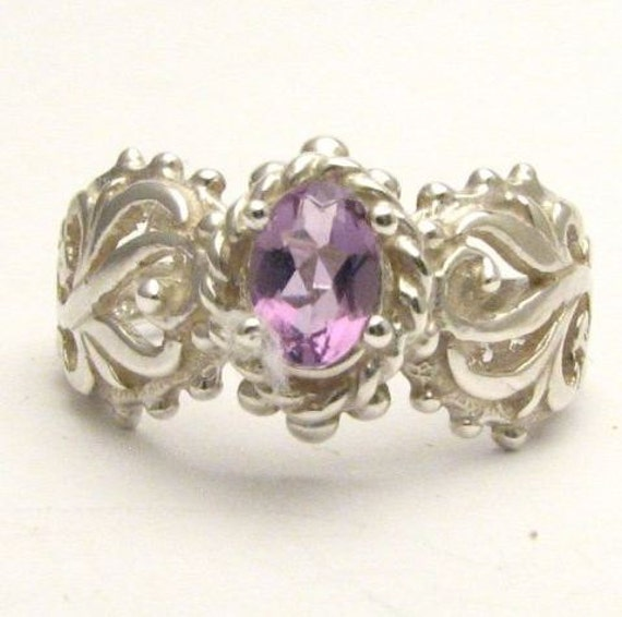 Beautiful handcrafted Light Purple Violet Amethyst Filigree Vine Solid Sterling Silver.  Custom Sized to fit you.