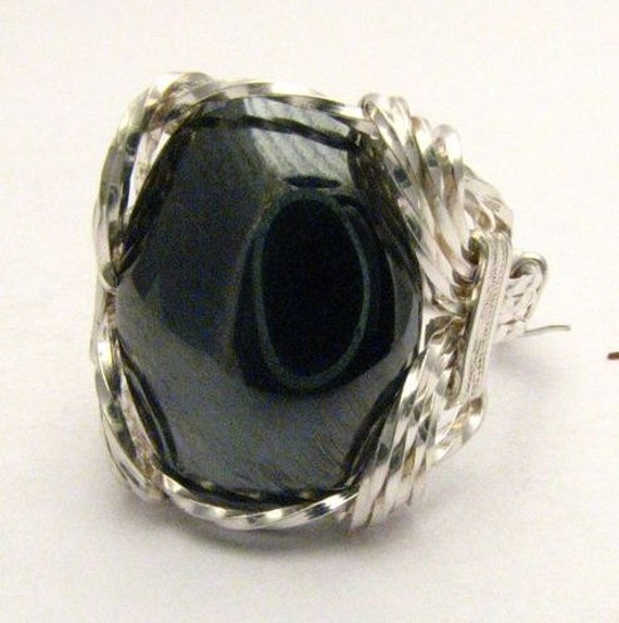 Oval Wire Wrap Hematite Silver Black Gemstone Ring 925.  Custom Sized to fit you.