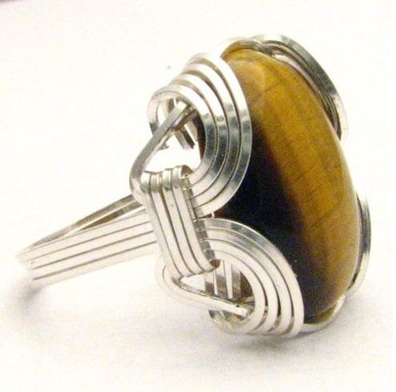 Wire Wrap Tiger Eye Browns Silver Ring 10ct, Custom Personalized Sizing to fit you.