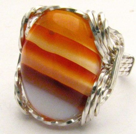 Wire Wrapped Red, Deep Orange, White Sardonyx Onyx Gemstone Sterling Silver Ring.  Custom Sized to fit you.