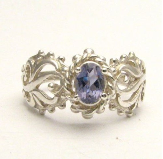 Iolite Light Purple Violet Filigree Ring Vine Solid Sterling Silver.  Custom Sized to fit you.