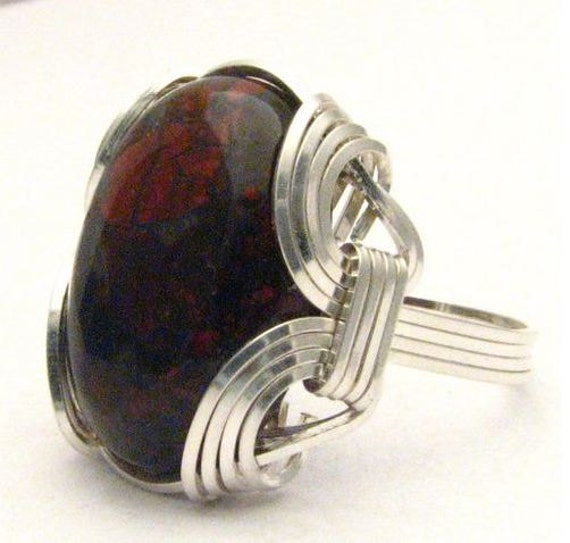 Wire Wrapped Poppy Jasper Stone Sterling Silver Ring.  Custom Sized to fit you.