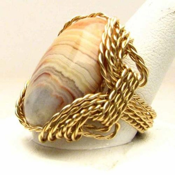 Wire Wrapped Mexican Crazy-Lace Agate Gold Filled Ring