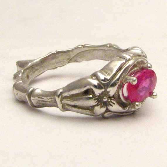 Red Ruby Bone Ring Solid Sterling Silver also in 14kt Gemstone Ring 6x4mm .5ct.
