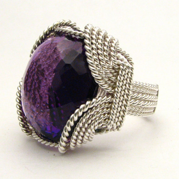 Wire Wrapped Flawless 37 ct. Amethyst Sterling Silver Ring 25x22x13mm