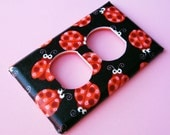 Cute Lady Bugs Pink and Black Outlet Plate Switch Cover