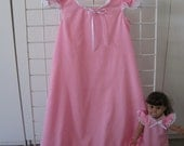 Pink or White Cotton Nightgown Set for child and American Girl Doll