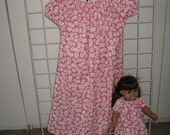 Peasant Style Dress set pink with Daises for Child and American Girl doll or other 18 inch dolls
