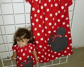 Peasant Style Dress set Red White Poka Dots with Minnie Mouse for Child and American Girl doll or other 18 inch dolls