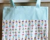 CLEARANCE Aqua / White Floral Tote / Market Bag - Riley Blake