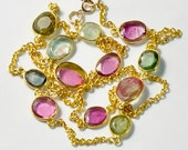 18k Vermeil Chain necklace With Tourmaline Bezel 21 inch