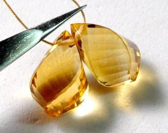 9mmx13.5mm Honey Citrine Twisted Spiral Drop Briolette Bead PAIR