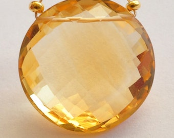 17.7mm Honey Citrine Faceted Coin Briolette Bead