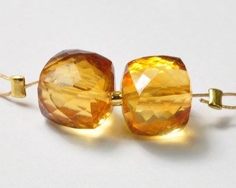 7.5mm Large Honey Citrine Faceted Cube Beads PAIR