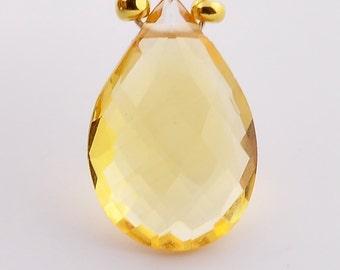 10mmx15mm Golden Citrine Faceted Pear Focal Briolette