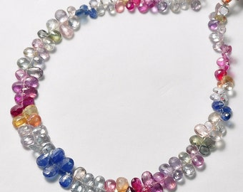 Madagascar Sapphire Faceted Pear Briolettes Beads 9 inch strand