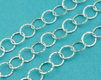 Sterling Silver Bulk Chain 7.2mmx8mm Flat link BY THE FOOT