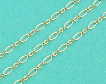 14k Gold Filled Bulk Chain 2.5mmx4.8mm Flat link 5 FEET