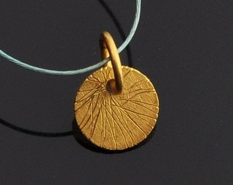 18k Solid Yellow Gold Brushed Finish Disc Charm Pendant Finding