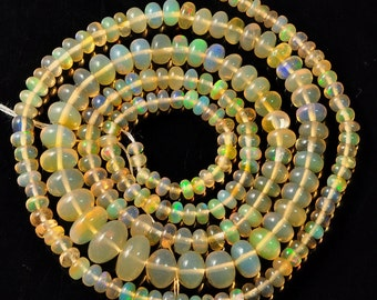 """2.7mm-7.6mm Fine Ethiopian Welo Opal Smooth Rondelle Beads 19.5"""" Strand"""