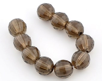 6MM Smoke Quartz Laser Cut Faceted Round Bead (10)