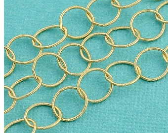 14k Gold Filled Bulk Chain 7mm Engraved Circle link By 5 Feet