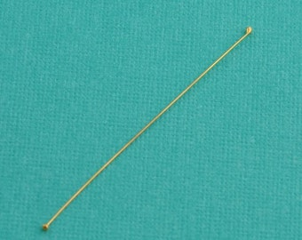 28 gauge 18k Solid Yellow Gold 1 INCH Headpin (2 in 1)