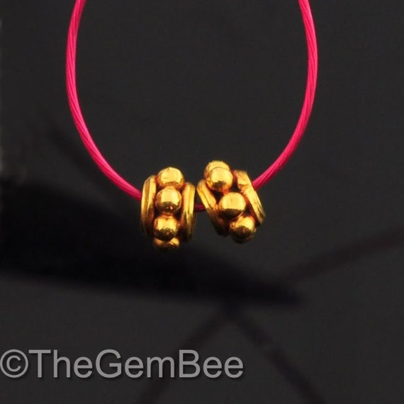 18k Solid Yellow Gold Bali Spacer Findings Beads PAIR