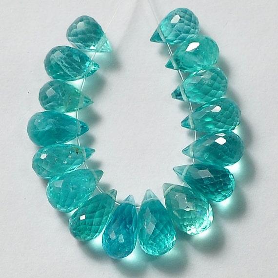 Neon Blue Apatite Faceted Teardrop Briolette Bead 16 by ...