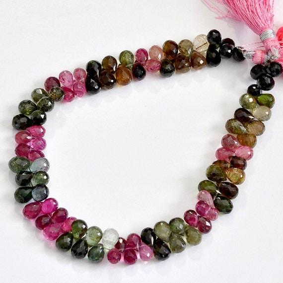 Rubellite Pink Green Tourmaline Drop Briolette Beads 4.75 inch HALF Strand