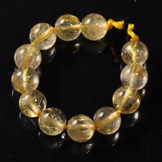 7.5MM Golden Rutilated Quartz Smooth Round Globe Beads (12)