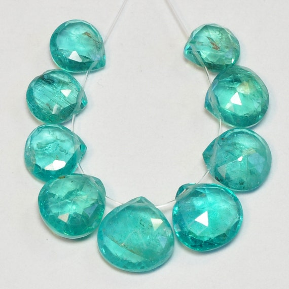 Neon Blue Apatite Faceted Heart Beads 7 by thegembee on Etsy