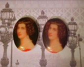 BZB'S 2 Lady in Red Portrait Vintage 18 x 13 mm Cabochons