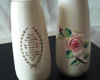 Pink Rose Ceramic Salt and Pepper