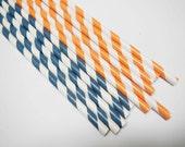 60 Orange Blue White Striped Paper Straws - Parties, weddings, graduations  FREE DIY Flags
