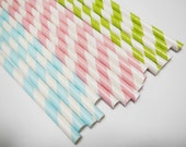 60 Baby Pink, Lime Green & Baby Blue White Pastel Striped Paper Straws - Parties, weddings,   FREE DIY Flags