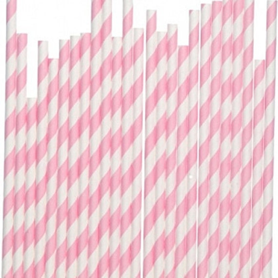 100 Baby Pink White Striped Paper Straws - Parties, weddings, graduations  FREE DIY Flags