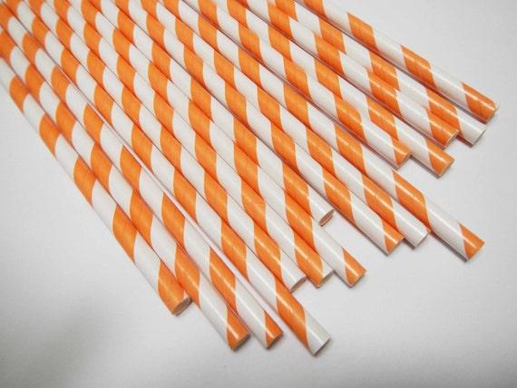 50 Orange White Striped Paper Straws - Parties, weddings, graduations  FREE DIY Flags