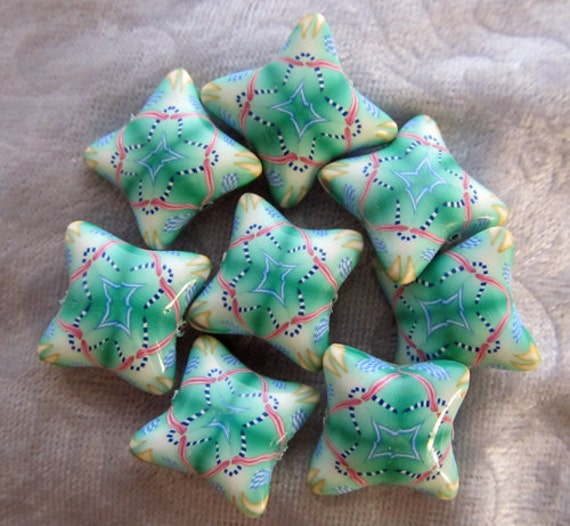 green red white light blue and gold kaliedoscope polymer clay pillow beads