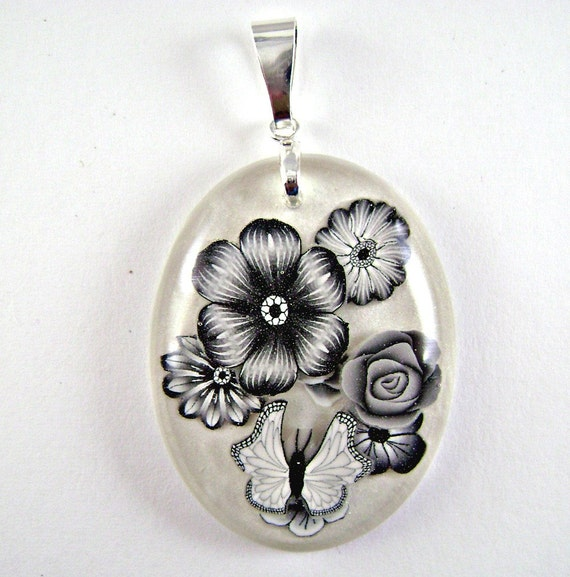 resin and polymer clay flower and butterfly pendant 6