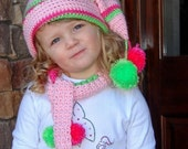 Custom Boutique Holiday Christmas Stocking Cap and Scarf Set... Mele Kalikimaka... One size fits most kids ages 3 to 8