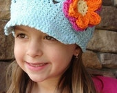 Custom Boutique Crochet Cotton Newsboy Cap with Flower Clip in Robin's Egg Blue or Your Choice, size 5 to tween