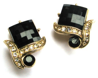 Jet Black and Gold Rhinestone Earrings Vintage Costume Jewelry