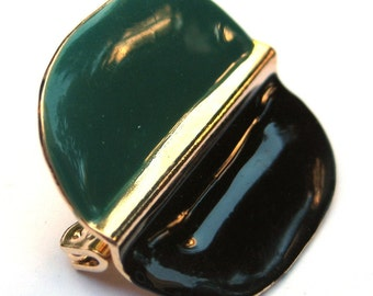 Vintage Modernistic Green and Black Brooch or Pin Costume Jewelry