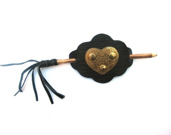 Vintage Black Leather Stick Brass Heart Hair Barrette